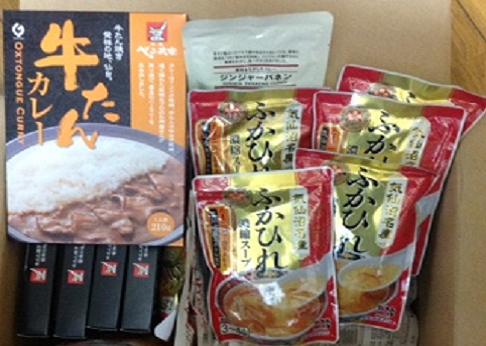 福井県の田中様からレトルトフカヒレスープ他、ダンボール1箱(約3キロ)を頂きました。(2017.3.4)