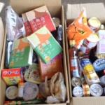 日野市のカトリック豊田教会様実施のフードドライブでお集めいただいた、レトルト食品、缶詰、調味料等をいただきました。(2017/4/23)